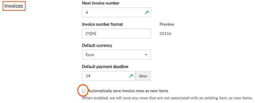 Org settings invoice items